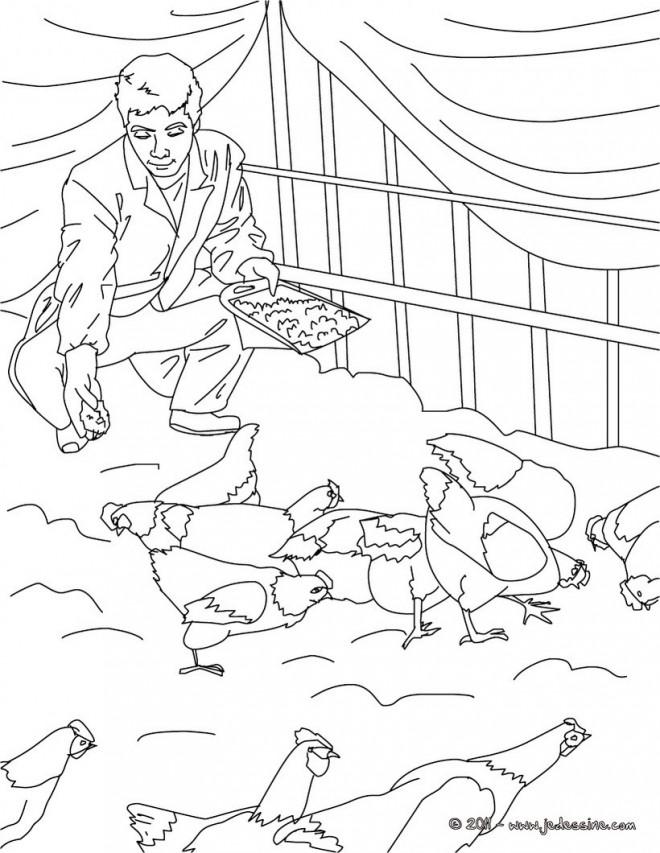 Coloriage et dessins gratuits Agriculteur dans sa ferme à imprimer