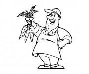 Coloriage et dessins gratuit Agriculteur et Carotte à imprimer