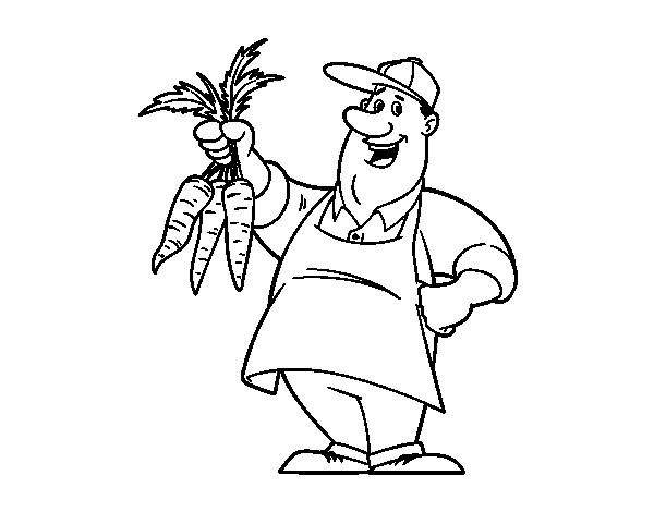 Coloriage et dessins gratuits Agriculteur et Carotte à imprimer