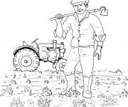 Coloriage Agriculture dans le champs