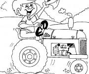 Coloriage et dessins gratuit Enfant sur Le Tracteur à imprimer