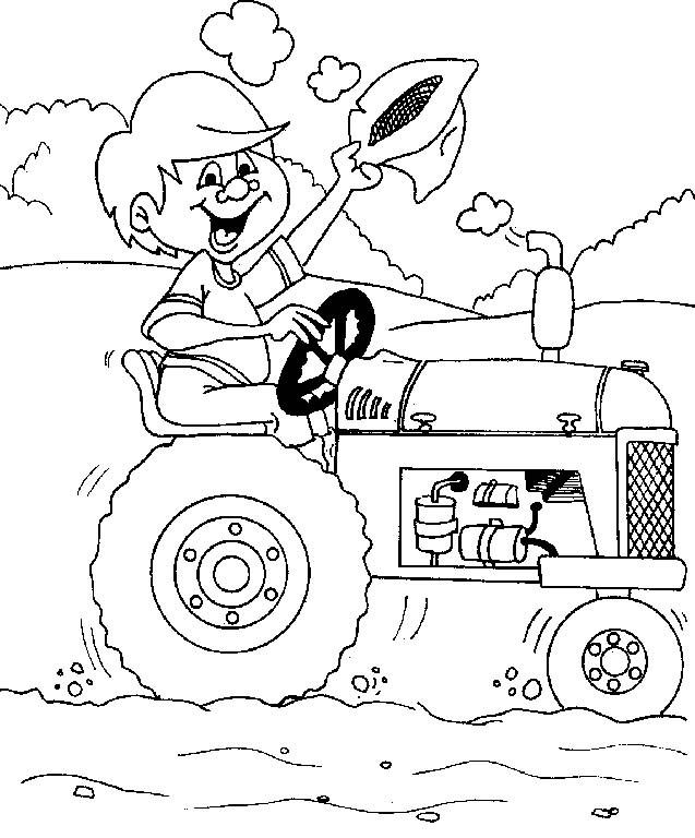 Coloriage et dessins gratuits Enfant sur Le Tracteur à imprimer