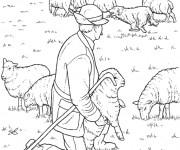 Coloriage et dessins gratuit Fermier et ses moutons à imprimer