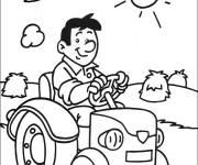 Coloriage et dessins gratuit fermier joyeux conduisant son tracteur à imprimer