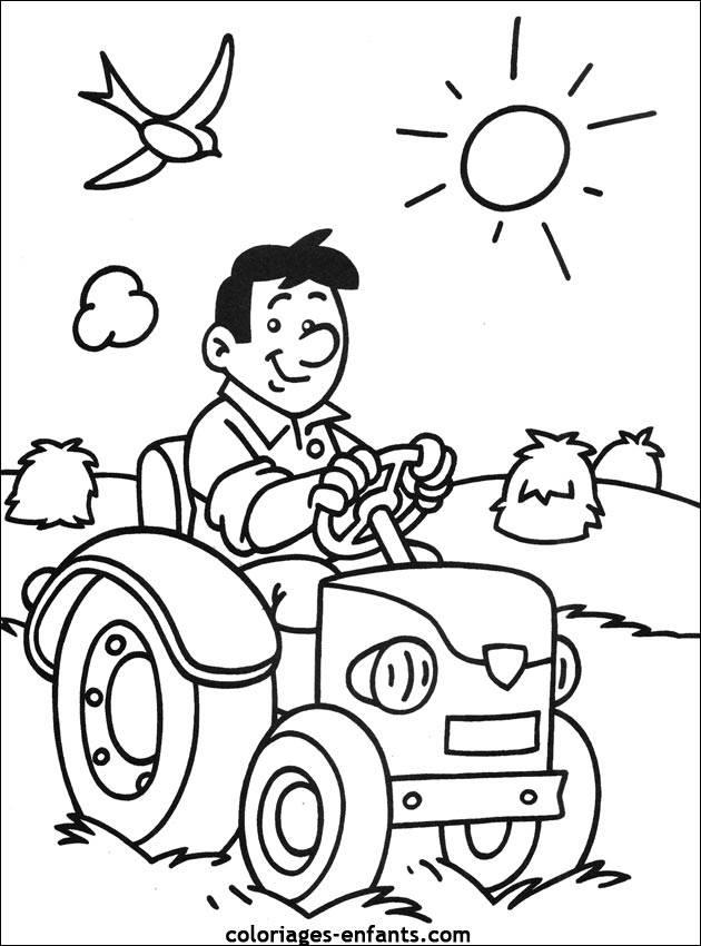 Coloriage et dessins gratuits fermier joyeux conduisant son tracteur à imprimer