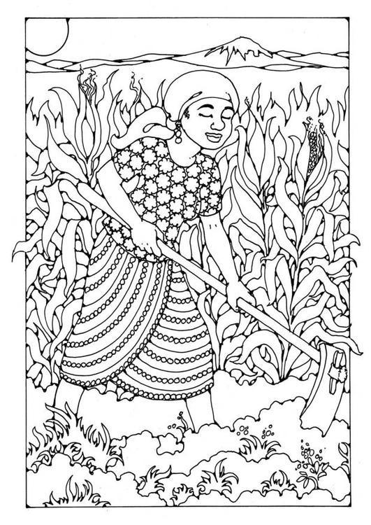 Coloriage et dessins gratuits Fermière dans Le Champs à imprimer
