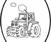 Coloriage et dessins gratuit Tracteur encerclé à imprimer