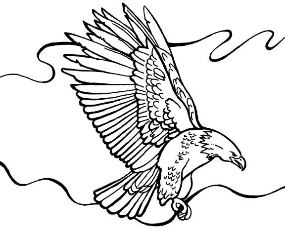 Coloriage et dessins gratuits Aigle sous les nuages à imprimer