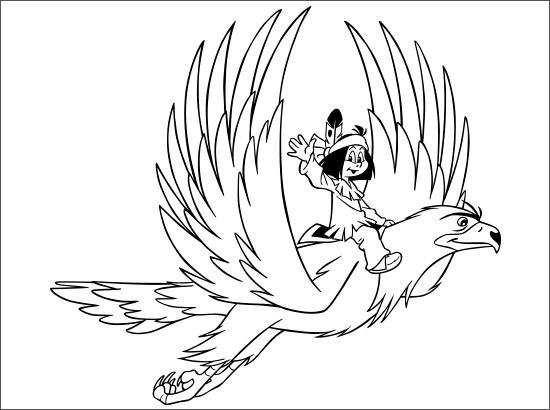 Coloriage et dessins gratuits Petit Indian sur Aigle à imprimer