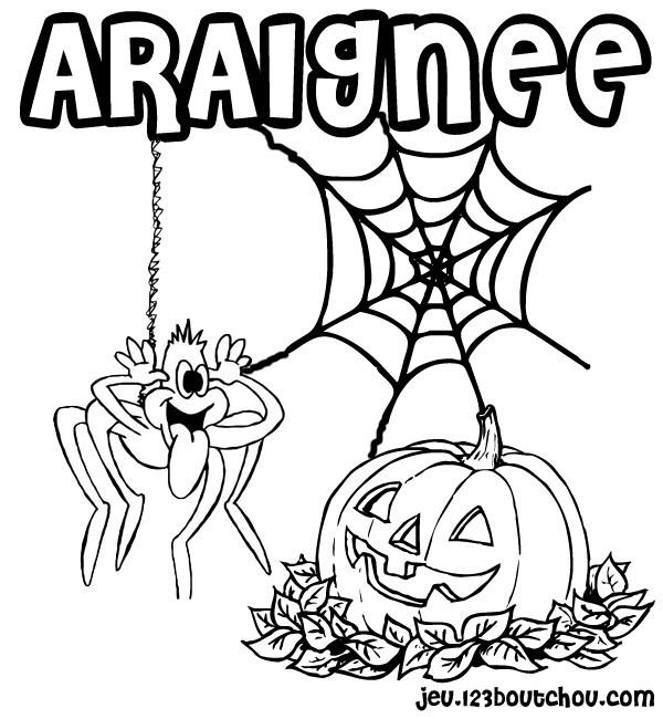 Coloriage Araignée Rigolote Et Citrouille Halloween