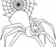 Coloriage Araignée souriante et Toile