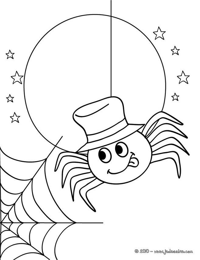 Coloriage et dessins gratuits Araignée sous La Lune à imprimer