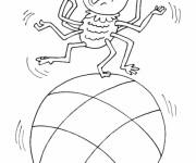 Coloriage Araignée sur le ballon