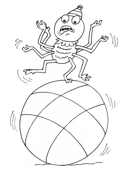 Coloriage et dessins gratuits Araignée sur le ballon à imprimer