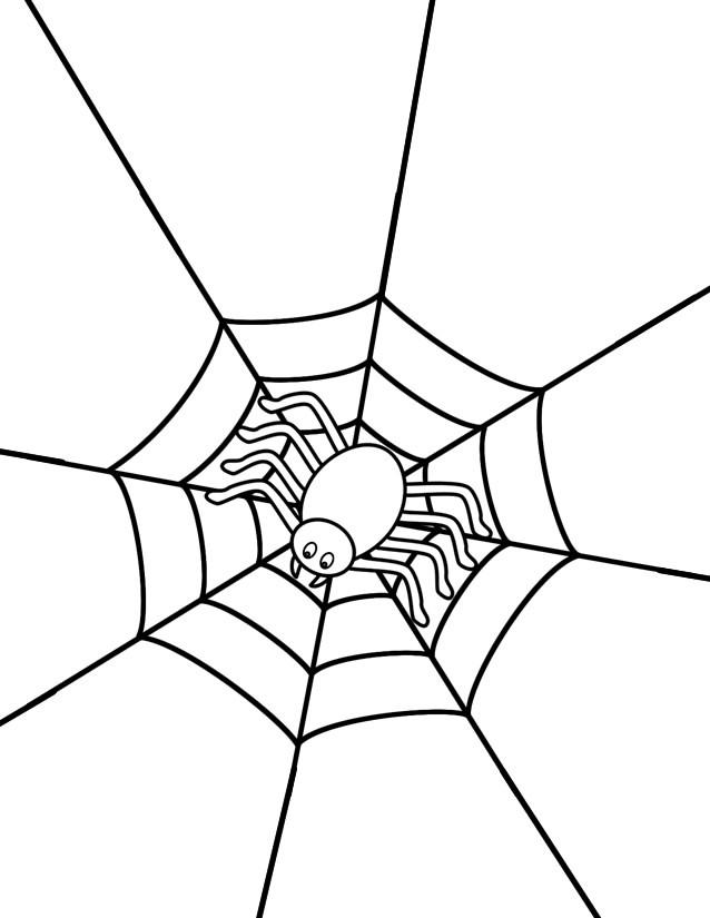 Coloriage et dessins gratuits Araignée sur sa toile stylisé à imprimer