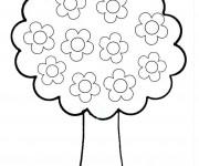 Coloriage et dessins gratuit Arbre avec Fleurs à imprimer
