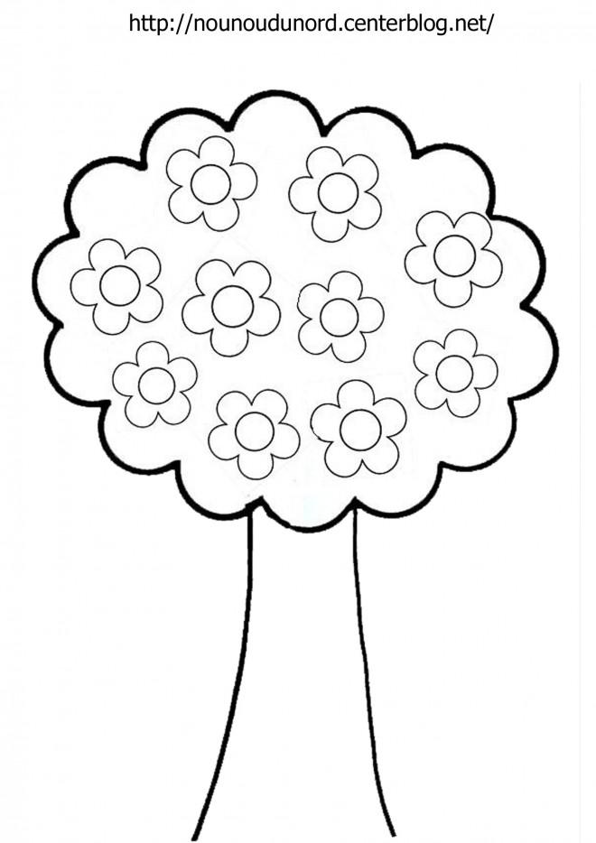 Coloriage et dessins gratuits Arbre avec Fleurs à imprimer