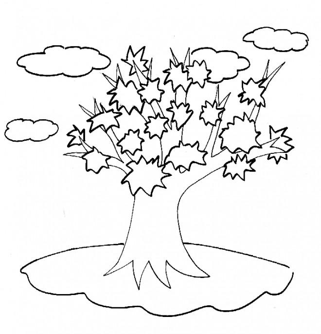 Coloriage et dessins gratuits Arbre dans les nuages à imprimer