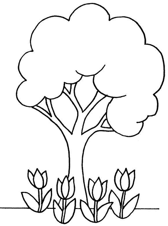 Coloriage et dessins gratuits Arbre et Roses à imprimer