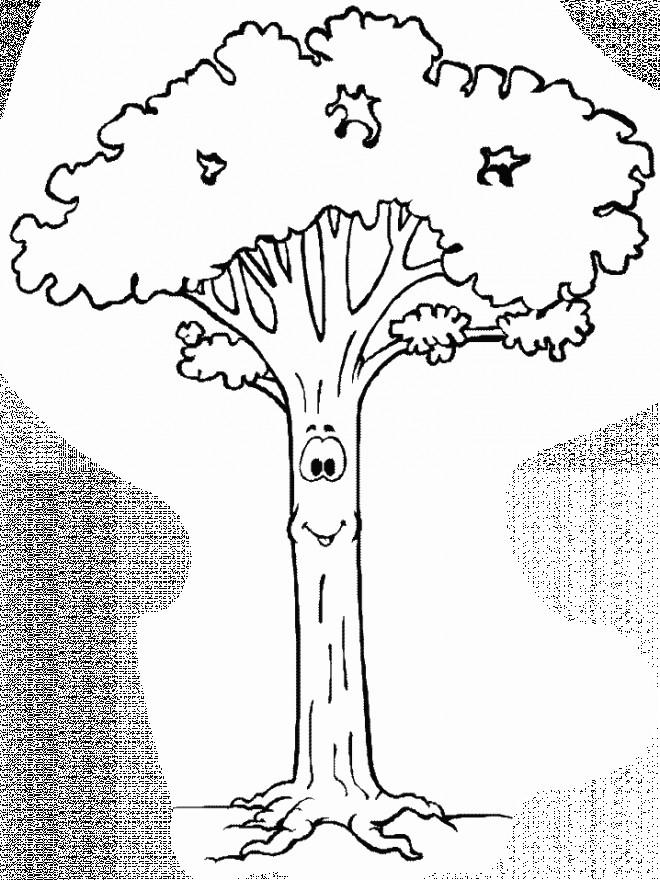 Coloriage et dessins gratuits Arbre qui sourit à imprimer