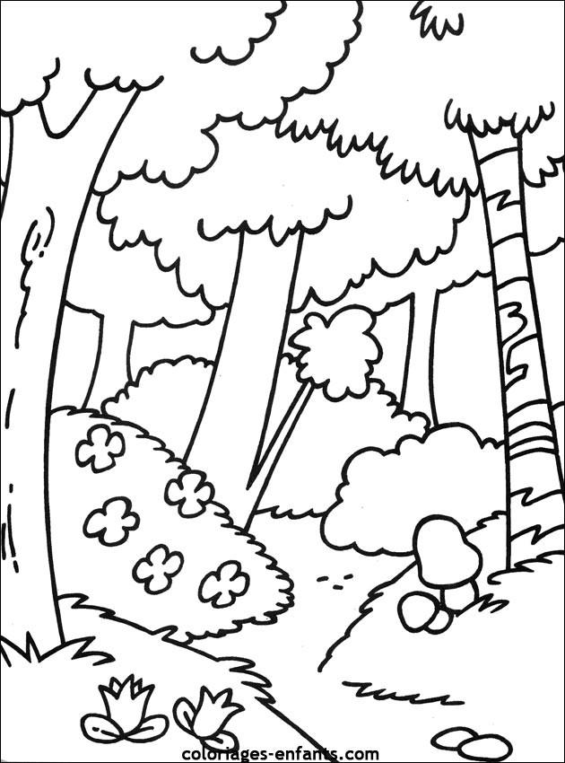Coloriage et dessins gratuits Arbres de La Forêt dessin animé à imprimer