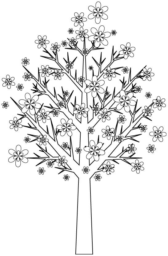 Coloriage et dessins gratuits Arbres décoré par les fleurs à imprimer
