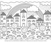 Coloriage et dessins gratuit Arc-en-ciel dans le ciel à imprimer