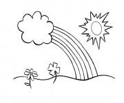 Coloriage et dessins gratuit Arc-en-ciel et les nuages à imprimer