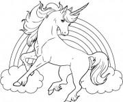 Coloriage et dessins gratuit Arc-en-ciel et Licorne à imprimer