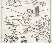 Coloriage et dessins gratuit Arc-en-ciel et Licorne en ligne à imprimer