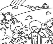 Coloriage et dessins gratuit Paysage Arc-en-ciel à imprimer