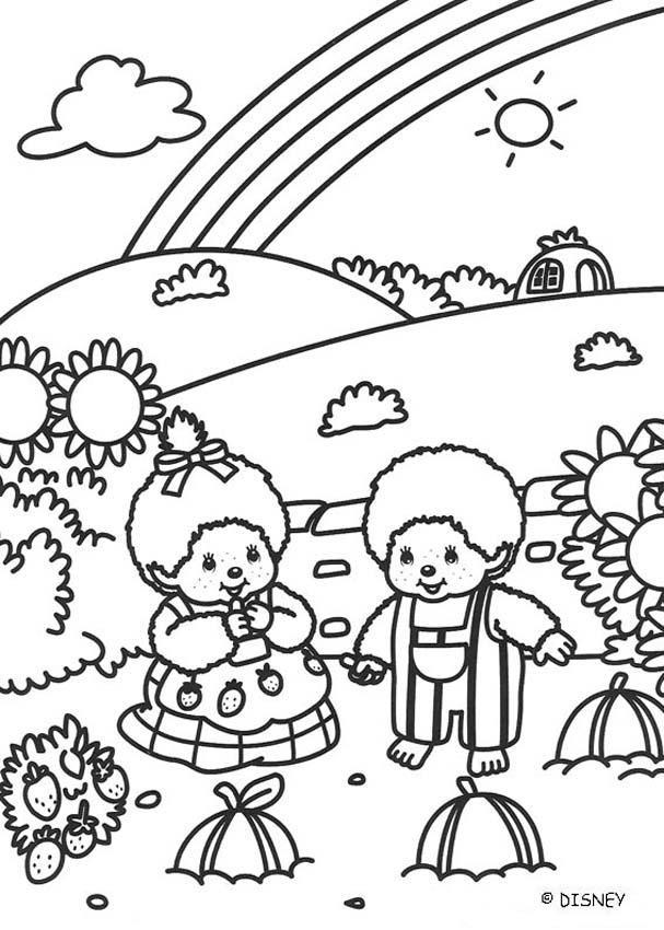 Coloriage paysage arc en ciel dessin gratuit imprimer for Scenery coloring pages