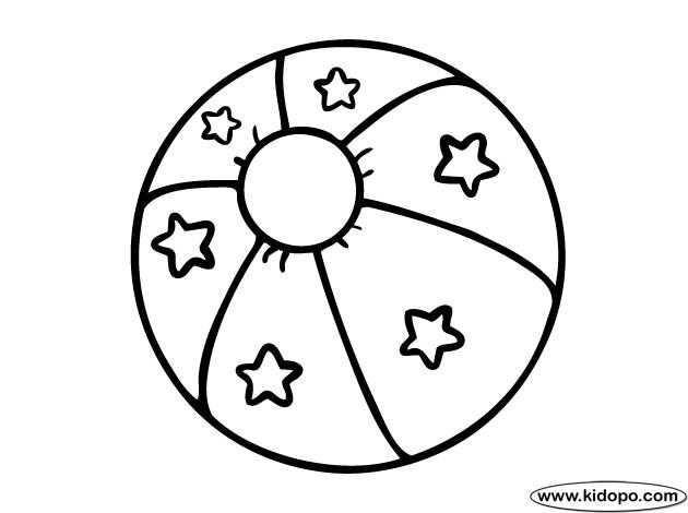 Coloriage et dessins gratuits Ballon de Plage décoré à imprimer