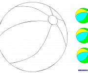 Coloriage et dessins gratuit Ballon de Plage en couleur à imprimer