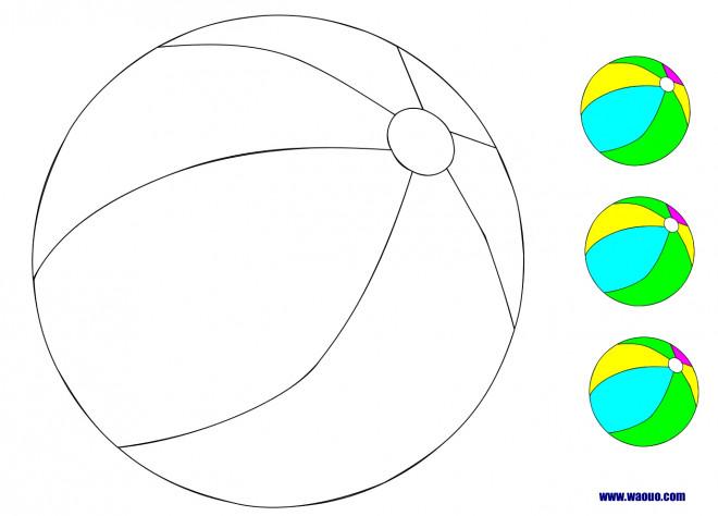 Coloriage et dessins gratuits Ballon de Plage en couleur à imprimer