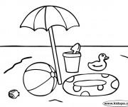 Coloriage et dessins gratuit Ballon et jouets de Plage à imprimer