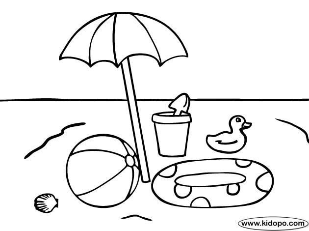 Coloriage et dessins gratuits Ballon et jouets de Plage à imprimer