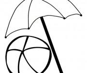 Coloriage et dessins gratuit Ballon et Parasol de plage à imprimer