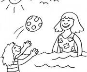 Coloriage et dessins gratuit Enfants s'amusent avec Ballon à imprimer