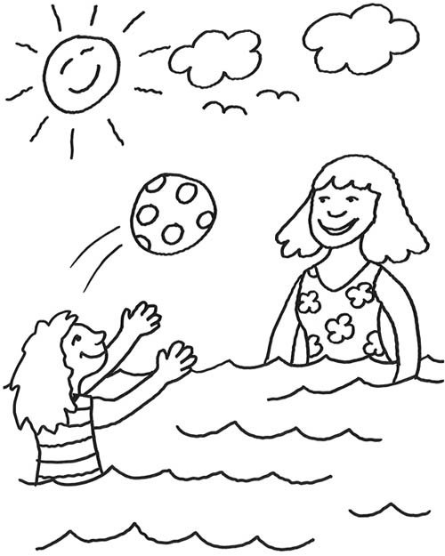 Coloriage et dessins gratuits Enfants s'amusent avec Ballon à imprimer