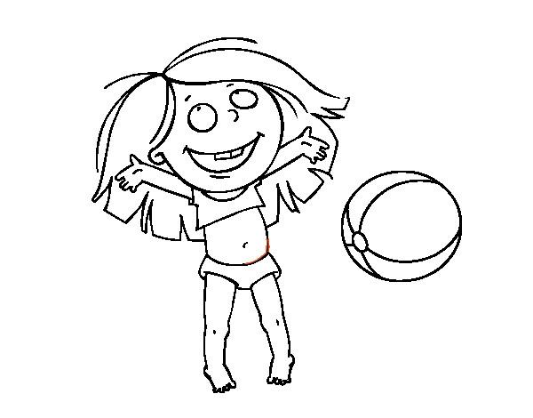 Coloriage et dessins gratuits Fille s'amuse avec le Ballon de Plage à imprimer
