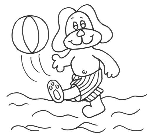 Coloriage et dessins gratuits L'enfant joue au Ballon de Plage à imprimer
