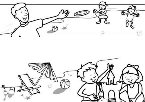 Coloriage et dessins gratuits La Plage et Les petits enfants à imprimer