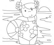 Coloriage et dessins gratuit Petite fille dans la Plage à imprimer