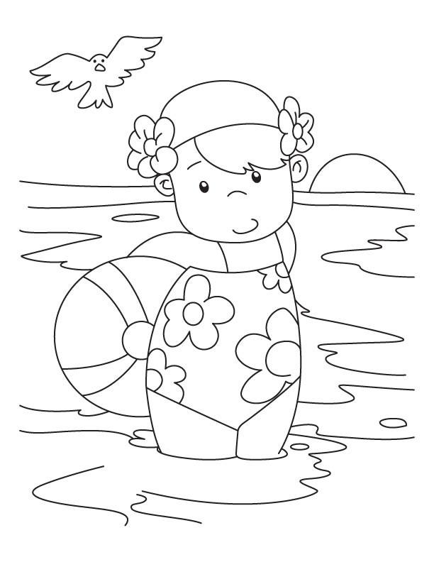 Coloriage et dessins gratuits Petite fille dans la Plage à imprimer