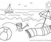 Coloriage et dessins gratuit Plage et Mer en été à imprimer