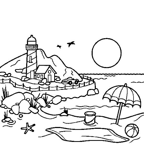 Coloriage bord de mer dessin gratuit imprimer - Dessin vacances mer ...