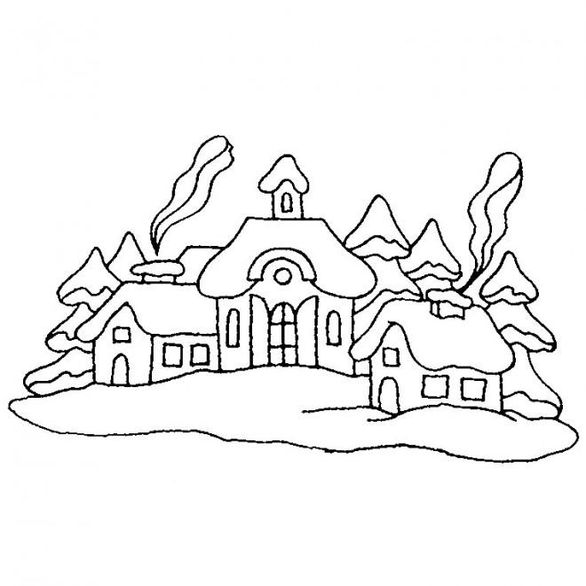 Coloriage et dessins gratuits Campagne en hiver à imprimer