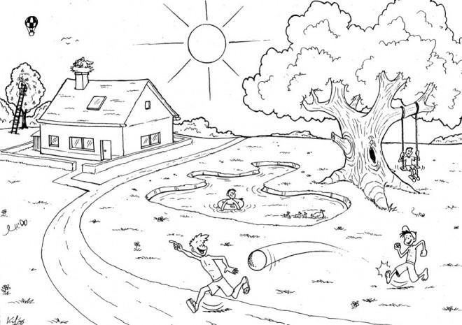 Coloriage et dessins gratuits Campagne et jour ensoleillé à imprimer