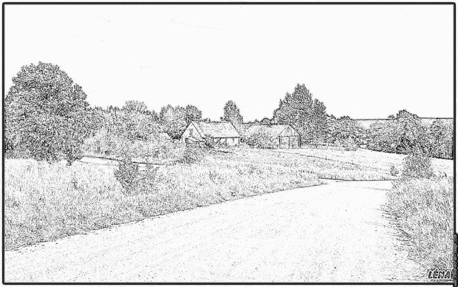 Coloriage et dessins gratuits Campagne paysage réaliste à imprimer